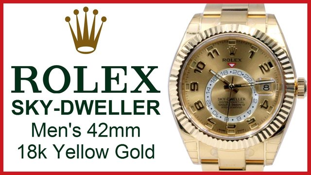 rolex sky dweller 18k gold watch