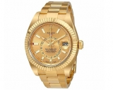 Rolex sky Dweller Champagne Dial GMT 18kt Yellow Gold